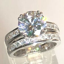 2pcBridal Set 4ct Round Simulated Diamond Real 925 Silver Engagement Weddin Ring