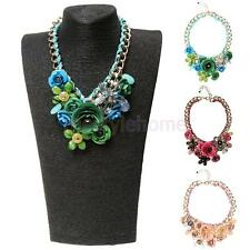 Women Fashion Gold Big Chain Bib Statement Flower Choker Crystal Chunky Necklace