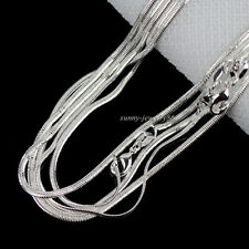 "Wholesale Hot Sale 10pcs 2mm 925 Silver Plated Flat Snake Chain Necklace 16""-30"""