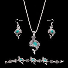 Fashion Fish Crown Boho Carved Turquoise Necklace Earrings Bracelet Set Peachy