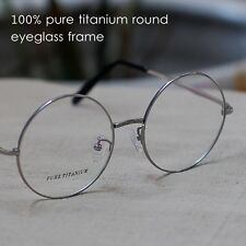 50mm Pure titanium eyeglasses silver round mens Spectacles Optical Rx loop frame