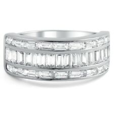 Sterling Silver All Baguette CZ Womens Fashion Ring