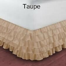 1 Ruffle Bed Skirt/Valance 1000 TC Drop 35 Cm Egyptian Cotton Taupe Solid