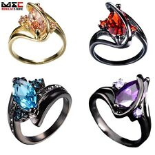 Fashion Stainless Steel Crystal Engagement Wedding Gem Ring Jewelry Band Retro