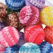 "20 Mixed Woven Round Beads, Acrylic Covered W/Cotton 21mm(7/8"") Dia. GW"