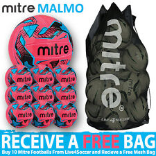 10 x Mitre Malmo PINK Training Footballs Plus FREE Mesh Bag