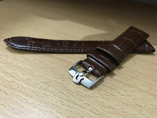 OMEGA, BROWN GENUINE CROC LEATHER WATCH STRAP, OMEGA S/STEEL BUCKLE,18MM,20MM