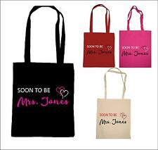 PERSONALISED SOON TO BE MRS BRIDE WEDDING TOTE BAG shopping bride to be hen gift