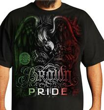 BROWN PRIDE EAGLE CHICANO ART DYSE ONE BLACK TEE rap