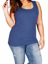 NEW - EX YOURS DENIM BLUE RIBBED COTTON VEST TOP PLUS SIZE - IN SIZES 16 - 34/36