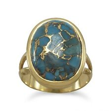 Copper-infused Turquoise Ring Gold-plated Sterling Silver
