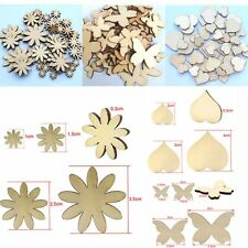 50Pcs Sizes Sewing Fitted Wood Buttons Scrapbooking Flower Butterfly Heart