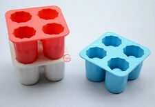 4- Cup Ice Cube Shot Glass Shape Silicone Ice Cube Tray Mold DIY Freeze Mold