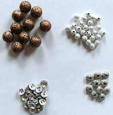 6 to 12mm Spacer Beads: Tibetan Silver ~ Blue Crystal Rondelle ~ Copper Filigree