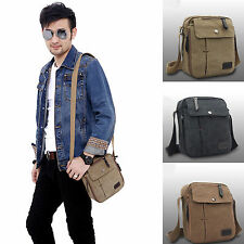 Mens Small Vintage Canvas Leather Satchel School Military Shoulder Bag Messenger
