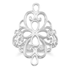 Large Filigree Ring Polished Cut Out Design Sterling Silver