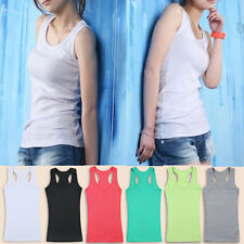 Womens Girls Sleeveless Tank Tops Cami No Sleeve T Shirt bottoming Camisole Vest