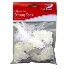 White Strung Mini Pricing Tags - Pack of 100 or 200 - 3 Different Sizes Avail