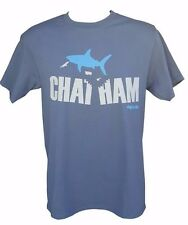 Chatham Cape Cod MA Shark Bite Adult Steel Blue Tee T-Shirt - NEW 100% Cotton