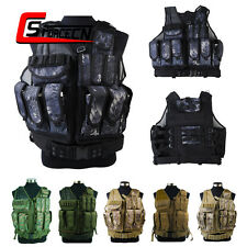 Mesh Style Combat Tactical Vest with Pistol Holster & Magazine Pouch Paintball