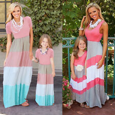 Mother and Daughter Striped Boho Maxi fitted Crewneck Cotton Casual Family Dress