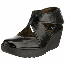 Fly London Yogo Black Patent Womens Leather Sandals Shoes