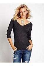 NEW WOMEN GUESS THREE QUARTER SLEEVE DOUBLE V NECK GRAY KNIT PULL OVER SWEATER