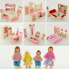 Kid Pink Wooden Furniture Dolls House Miniature 6 Room Set Doll For Xmas Gift CB