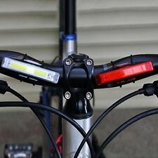USB Rechargeable LED Bicycle Bike Cycling Front Rear Tail Light Warning Lamp