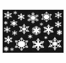 24 Christmas Snowflake White Reusable Window Cling Decorations Sheet of A4