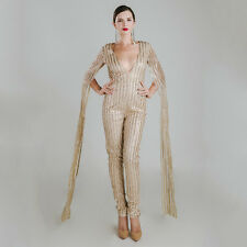 Women Sexy deep v cut out long sleeve see-through glitter party jumpsuits 4682