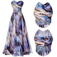 Women Long Chiffon Ball Gown Evening Prom Strapless Party Dress Size US 2~16 New
