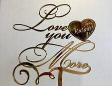 Love you more cake topper Gold mirror wedding cake topper Custom heart toppers