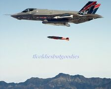 F-35A LIGHTNING II FIGHTER JET DROPS FIRES MISSILE US AIR FORCE MILITARY PHOTO