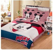 *** Big Check Mickey Mouse Single Bed Quilt Cover Set - Flat or Fitted Sheet ***