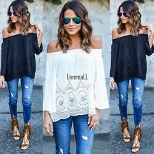 New Women Sexy Off Shoulder Lace Patchwork Casual Loose Tops Blouse LM02