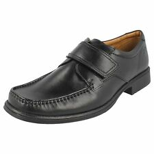 MENS CLARKS BLACK LEATHER HUCKLEY ROLL RIPTAPE STRAP SMART CASUAL FORMAL SHOES