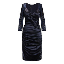 Navy Blue V Neck Floral Lace Long Sleeve Bridesmaid Cocktail Party Midi Dress
