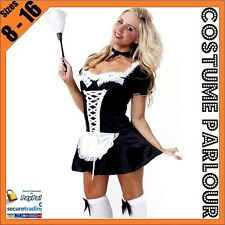 Womens Sexy French Maid Ladies Outfit Fancy Dress Costume Size 8 10 12 14 16