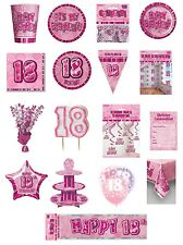 18 / 18th Birthday Pink Glitz Party Range - Party/Plates/Napkins/Banners/Cups