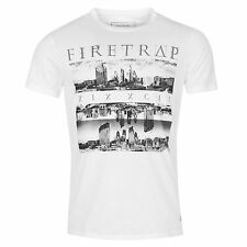 MENS WHITE FIRETRAP GRAPHIC SKYLINE CREW NECK SHORT SLEEVE TEE SHIRT T-SHIRT