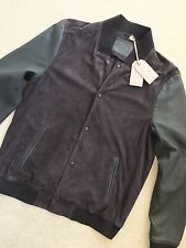 "ALL SAINTS MEN'S BLACK ""DELTA"" LEATHER BOMBER JACKET COAT - L XXL - NEW TAGS"