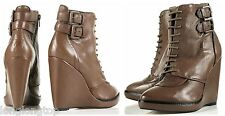 TOPSHOP GENUINE LEATHER LACE UP WEDGE ANKLE BOOTS SHOES  NEW