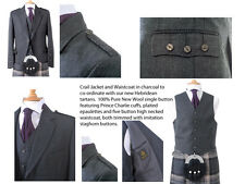 100% Wool Mens Crail Jacket and Waistcoat (Charcoal) - Made in Scotland