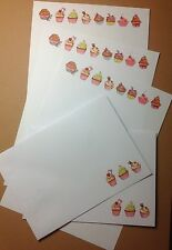 Colourful yummy cupcakes letter writing paper & envelopes stationery set
