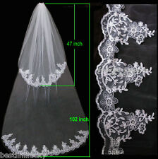 2t white ivory Wedding Bridal veil with Comb Edge Lace Length bride mantilla New