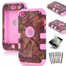 For iPod Touch 4th Generation 4G Case Hybrid Deluxe 3-Piece Cover+Protector