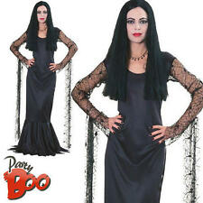 Morticia Ladies Halloween Fancy Dress The Addams Family Womens Halloween Costume
