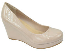 City Classified Women Classic Wedge Round Toe Platform Pumps Beige Patent THOMAS