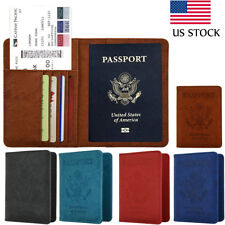 RFID Blocking Leather Case Passport 9 Slots Card Holder Travel Wallet Cover Case